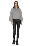 Grey Ribbed Knit Oversized Sleeves Blouse