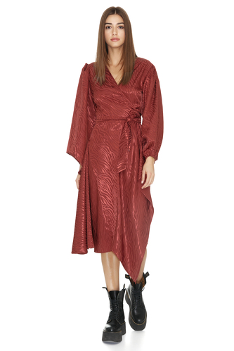 Burgundy Wrap Midi Dress - PNK Casual