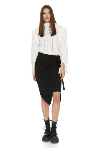 Black Punto Wrap Mini Skirt - PNK Casual