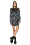 Grey Animal Print Mini Dress With Oversized Shoulders