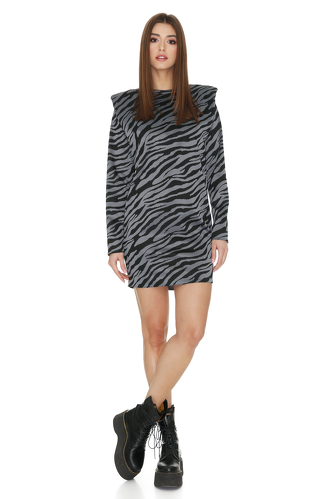 Grey Animal Print Mini Dress With Oversized Shoulders - PNK Casual