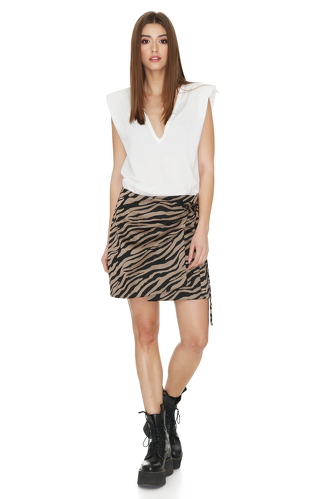 Brown Animal Print Wrap Skirt - PNK Casual
