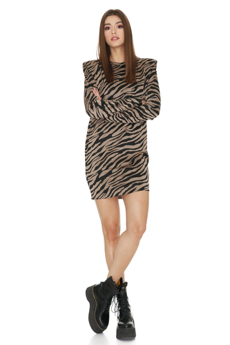 Brown Animal Print Mini Dress With Oversized Shoulders - PNK Casual