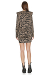 Brown Animal Print Mini Dress With Oversized Shoulders