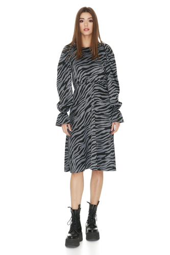 Grey Animal Print Midi Dress - PNK Casual