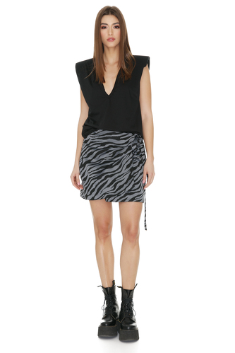 Grey Animal Print Wrap Skirt - PNK Casual