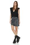 Grey Animal Print Wrap Skirt