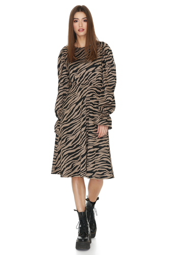 Brown Animal Print Midi Dress - PNK Casual