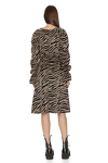 Brown Animal Print Midi Dress