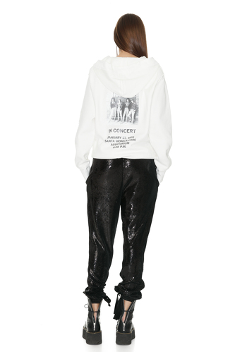 White Hand-Distressed Printed Sweatshirt - PNK Casual