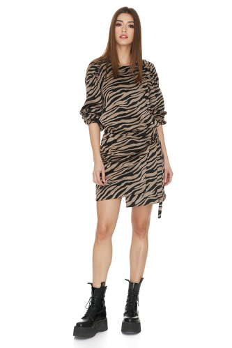 Brown Animal Print Blouse - PNK Casual