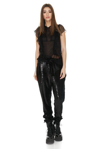 Black Silk Top With Ruffles - PNK Casual