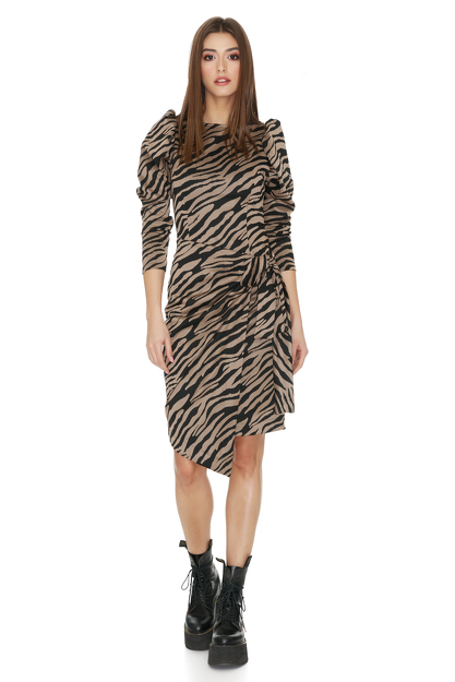 Brown Animal Print Wrap Dress