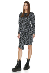 Grey Animal Print Wrap Dress