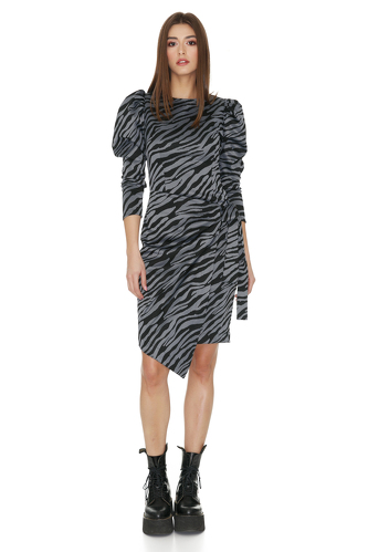 Grey Animal Print Wrap Dress - PNK Casual