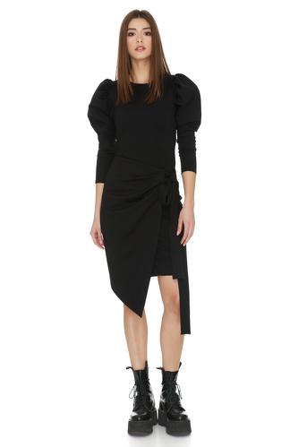 Black Punto Wrap Dress - PNK Casual
