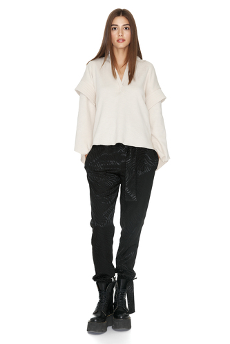Off-White Ribbed Knit Oversized Sleeves Blouse - PNK Casual