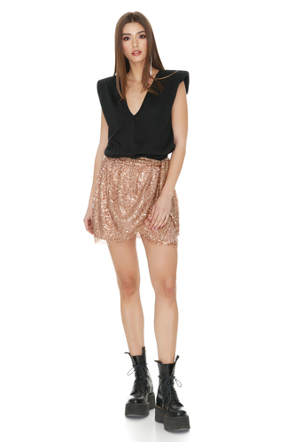 Brown Sequins Wrap Mini Skirt - PNK Casual
