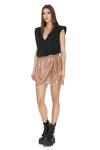 Brown Sequins Wrap Mini Skirt