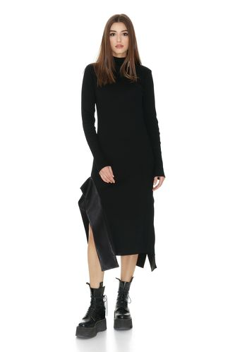 Ribbed Knit Cotton Black Dress With Viscose Insertions - PNK Casual