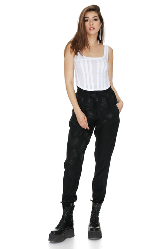 Black Pants With Elasticated Hemline - PNK Casual