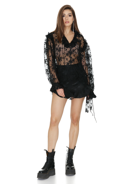 Black Lace Tulle Top