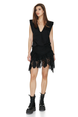 Black Asymmetric Skirt With Crocheted Hem - PNK Casual