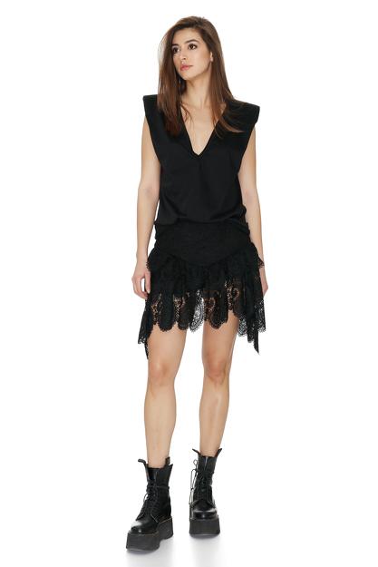 Black Asymmetric Skirt With Crocheted Hem