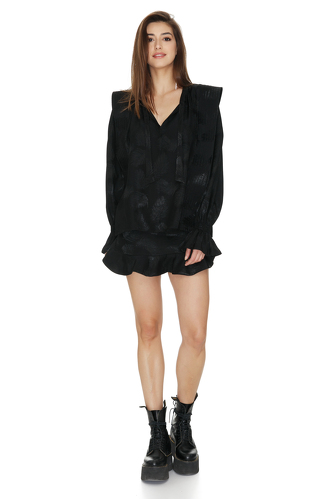 Oversized Shoulders Black Blouse - PNK Casual