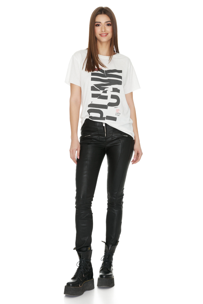 White Oversize Printed T-Shirt