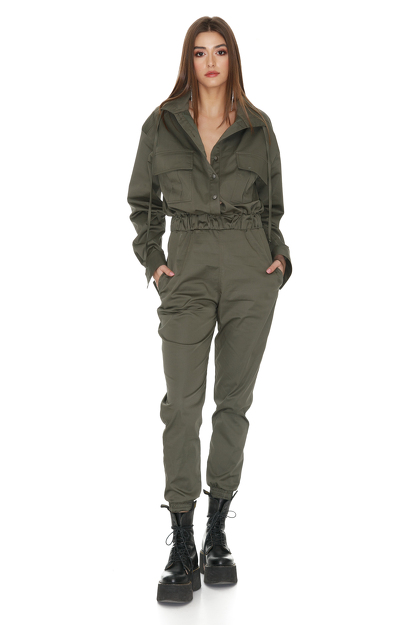 Army-Green Cropped Jumpsuit