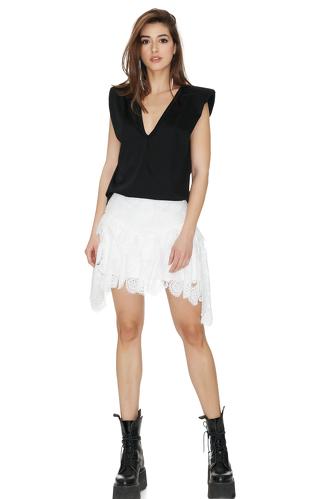 Black Neckline Top With Oversized Shoulders - PNK Casual