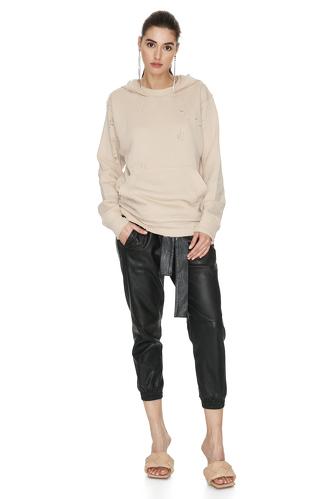 Beige Hand-Distressed Sweatshirt - PNK Casual