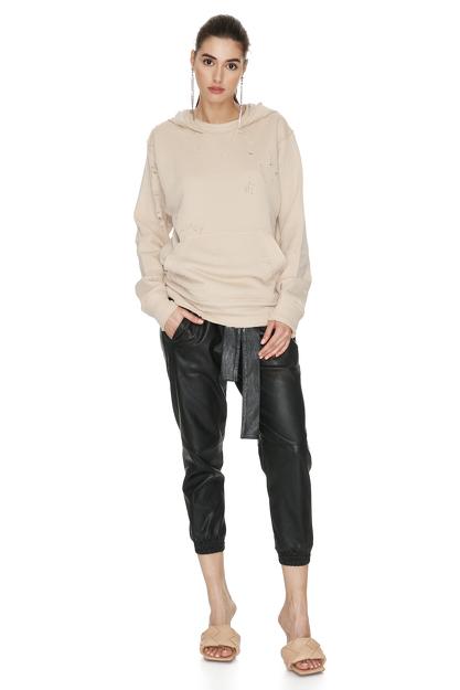 Beige Hand-Distressed Sweatshirt