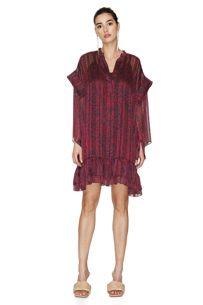 Burgundy Dress With Ruffles And Long Sleeves