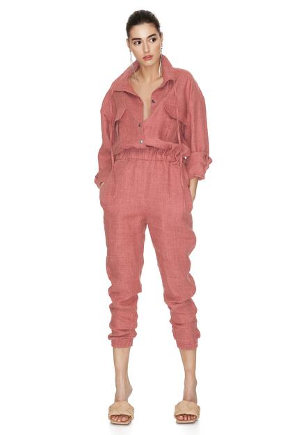 Brick Orange Linen Cropped Jumpsuit