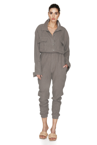 Grey Linen Cropped Jumpsuit - PNK Casual