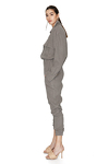 Grey Linen Cropped Jumpsuit