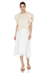 Off-White Ribbed Knit Ruffled Blouse