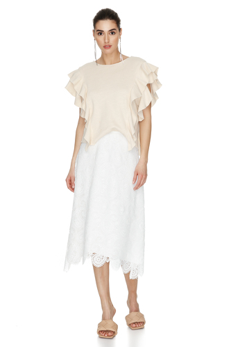 Off-White Ribbed Knit Ruffled Blouse - PNK Casual