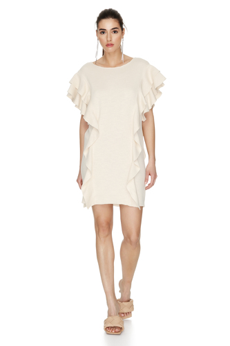 Off-White Ribbed Knit Ruffled Dress - PNK Casual