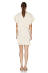 Off-White Ribbed Knit Ruffled Dress