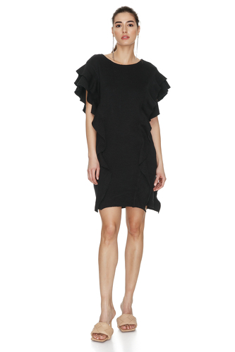 Black Ribbed Knit Ruffled Dress - PNK Casual