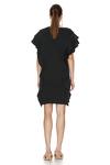 Black Ribbed Knit Ruffled Dress