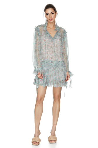Printed Grey-Green Silk Dress - PNK Casual