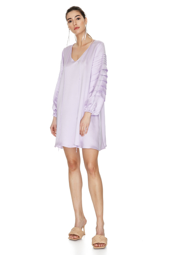 Lavender Pleated Viscose Dress - PNK Casual