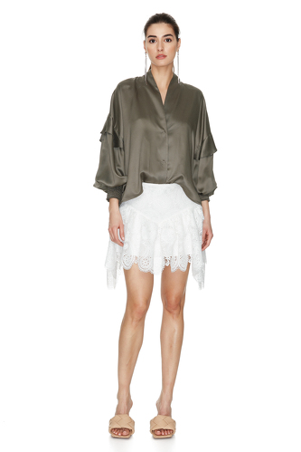 Kaki Ruffled Viscose Shirt - PNK Casual
