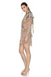 Printed Brown Silk Mini Dress with Ruffled