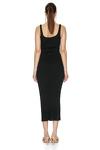 Black Cotton Midi Dress With Straps