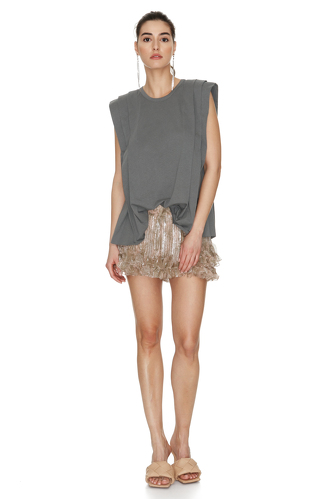 Grey Cotton Pleated Top - PNK Casual